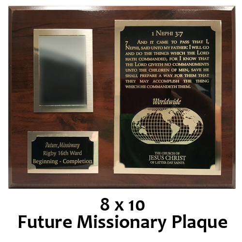 8 X 10 Future Missionary Plaque With Mirror Kettle Embroidery