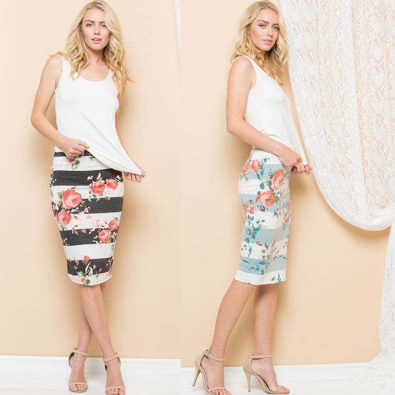 C2 1300075 Floral Striped Pattern Skirt Kettle Embroidery